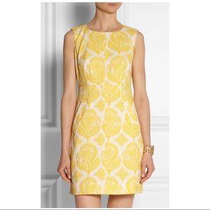 Diane Von Furstenberg yellow jacquard dress 2